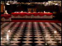 Sherwood Room Head Table draped in cherry red
