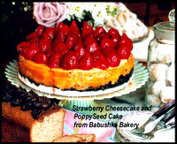 Strawberry cheesecake, poppyseed cake